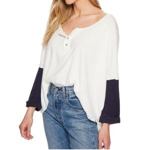 NWT Free People Star Destructed Henley Top